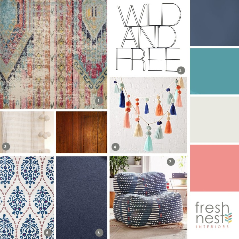 Design board for boho makeover