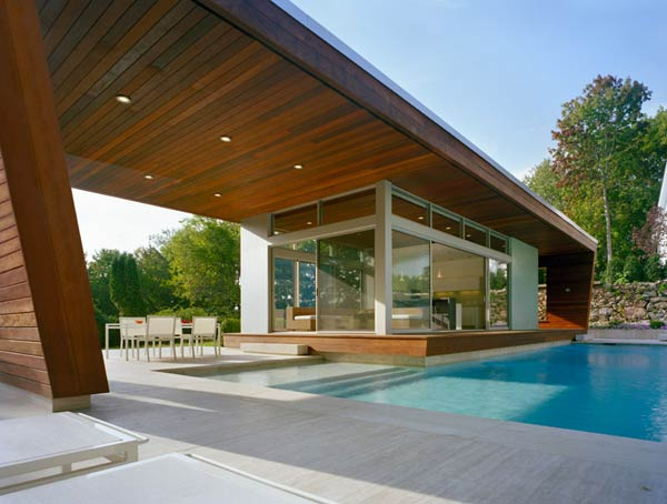 outstanding swimming pool house design 2 Beautiful Pool House in Connecticut by Hariri & Hariri Architecture