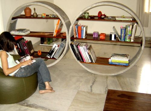 Unique Concrete Bookshelves 1