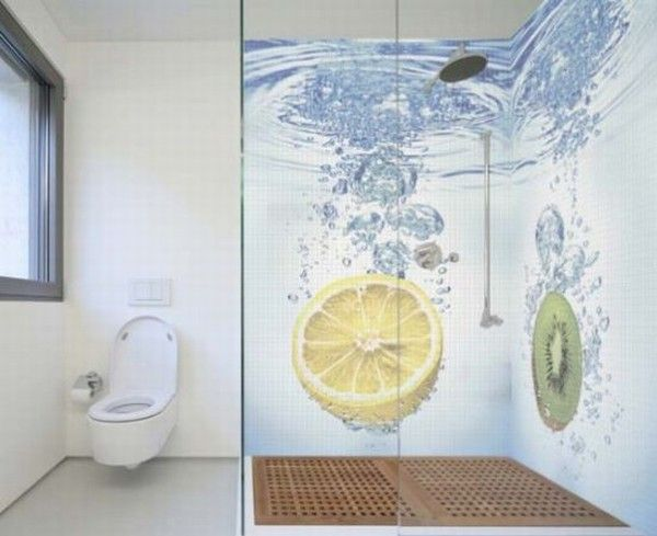 glass mosaic tiles with cool images for bathroom by glas 010 Mosaic Tiles : A Fresh Bathroom Look