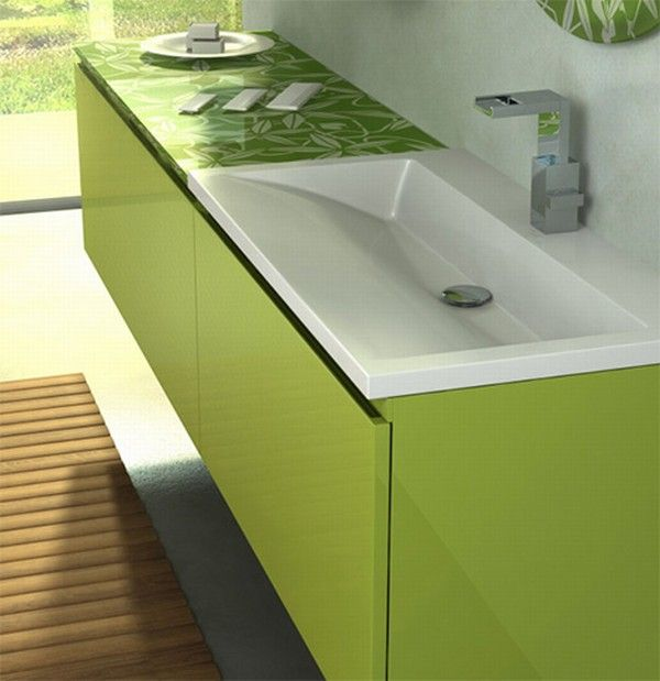 colorful bathroom vanity green bamboo 2 Orange and Green Bathroom Design from Duebi Italia