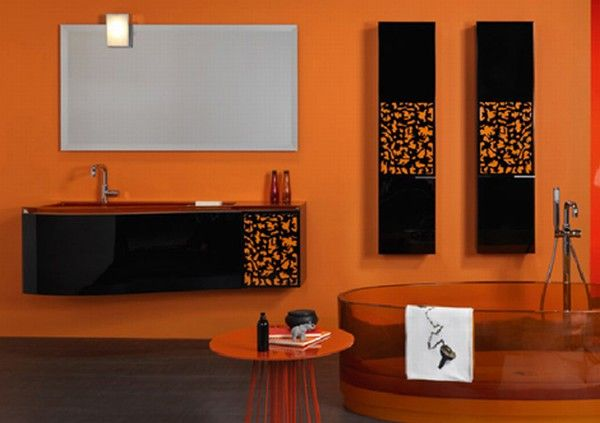 colorful bathroom vanity orange 2 Orange and Green Bathroom Design from Duebi Italia