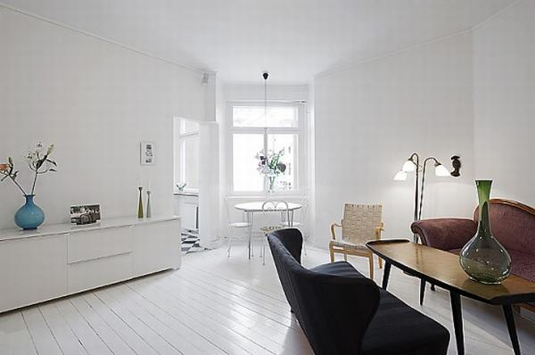 clean white small apartment interior design 1 554x368 Simple and Elegant White Apartment