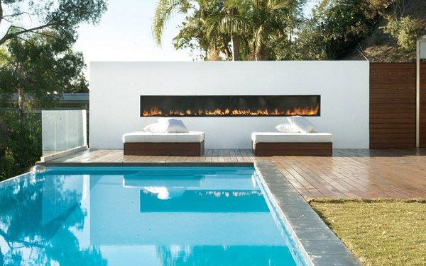 pool house outdoor fire place 21 Amazing Pool Ideas For Contemporary Houses