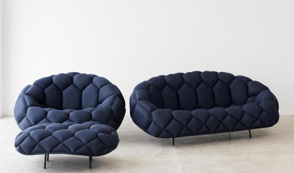 Fashionable Blue Sofa and Armchair