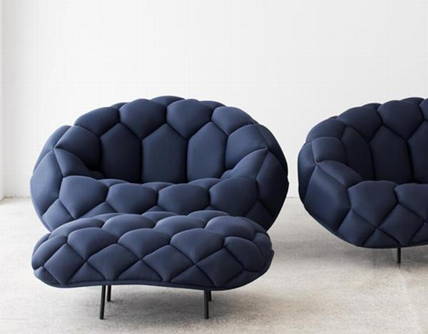 quilt Fashionable Blue Sofa and Armchair : Quilt