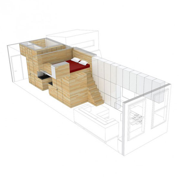 very tiny loft studio design 11 554x554 Incredible Space Maximization in a Small Studio Apartment