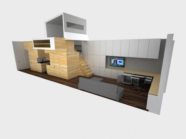 very tiny loft studio design Incredible Space Maximization in a Small Studio Apartment