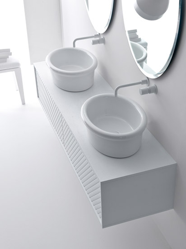 Coco collection for bathrooms 3 Gorgeous Textured Bathroom Furniture in Black and White from Falper