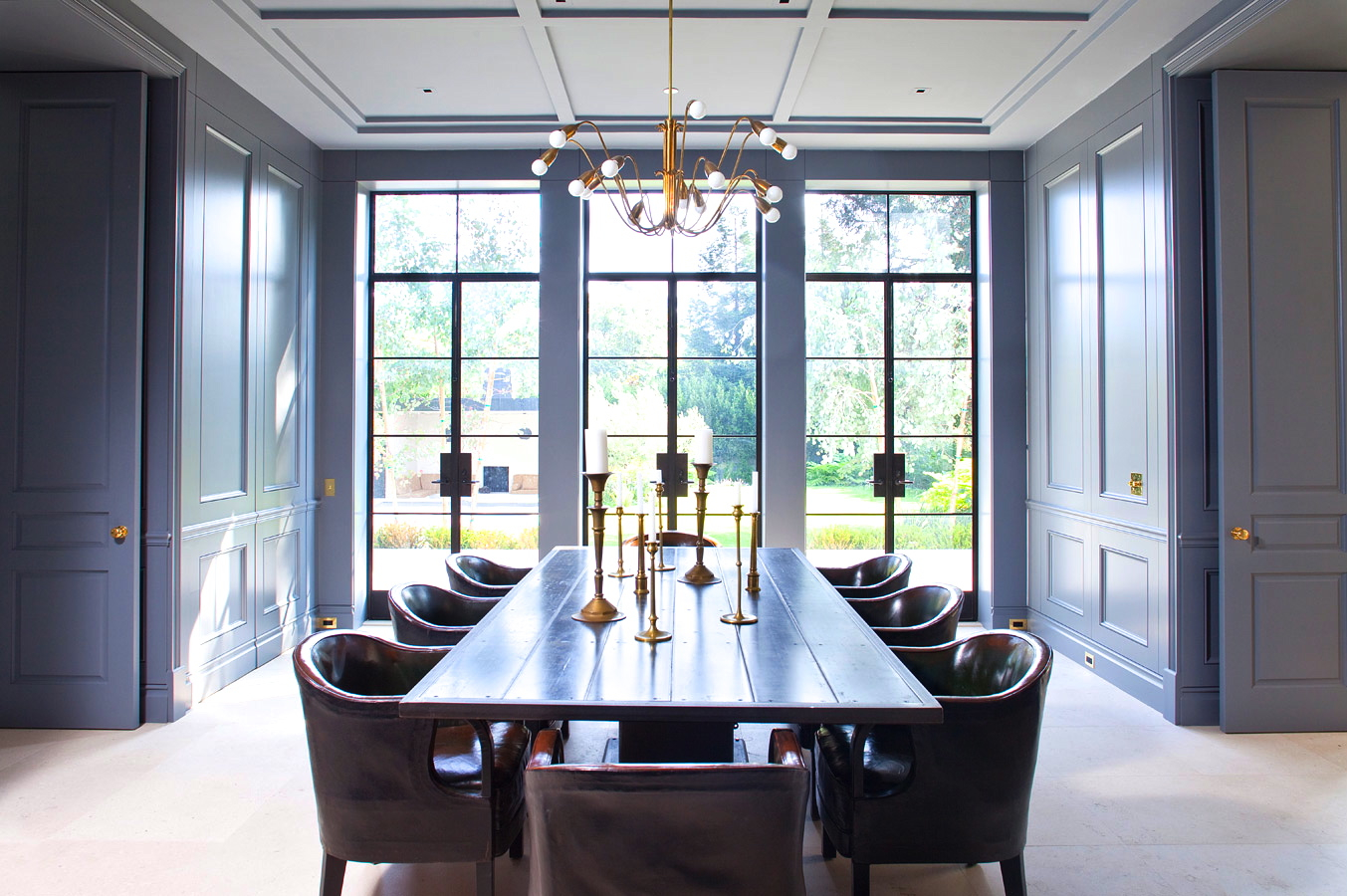 formal living room sofa the candidate ad maker are dining rooms becoming obsolete freshome com collect this idea william hefner paneled walls doors gray blue cococozy interior design leather chairs encasement windows