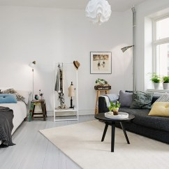 Living Room Furniture For Studio Apartments Decorating Ideas Wood Floor Delightful One Apartment In Gothenburg Inspiring Brightness And Space