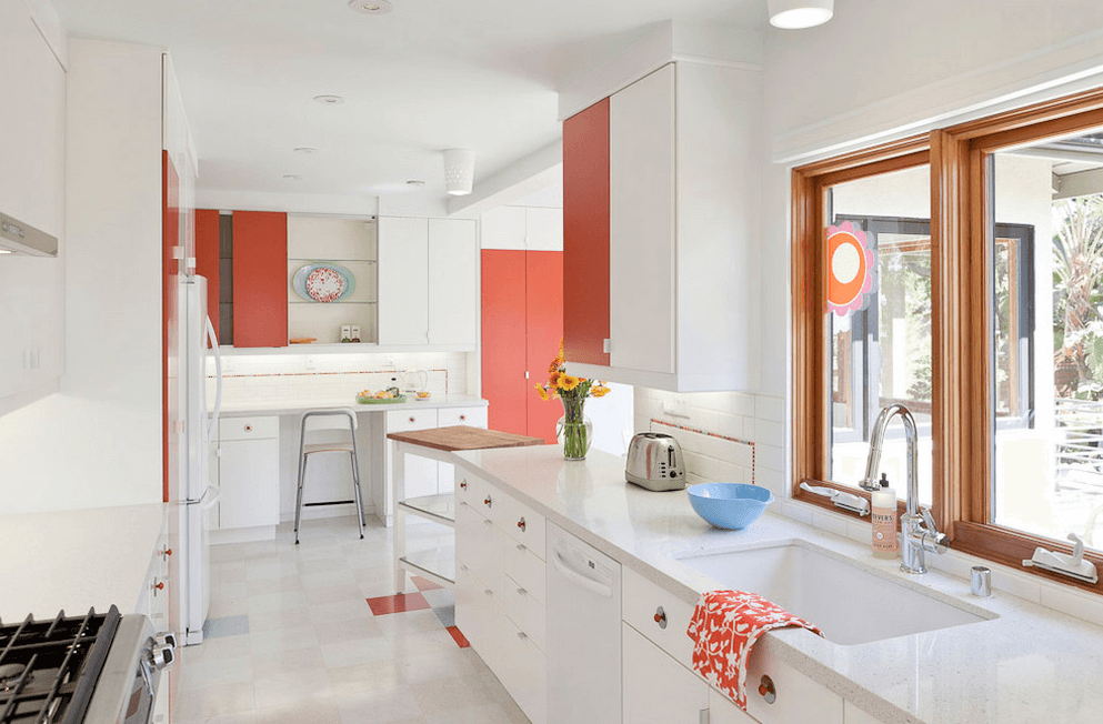 white kitchen countertops barn sink ideas to inspire you freshome com and salmon walls