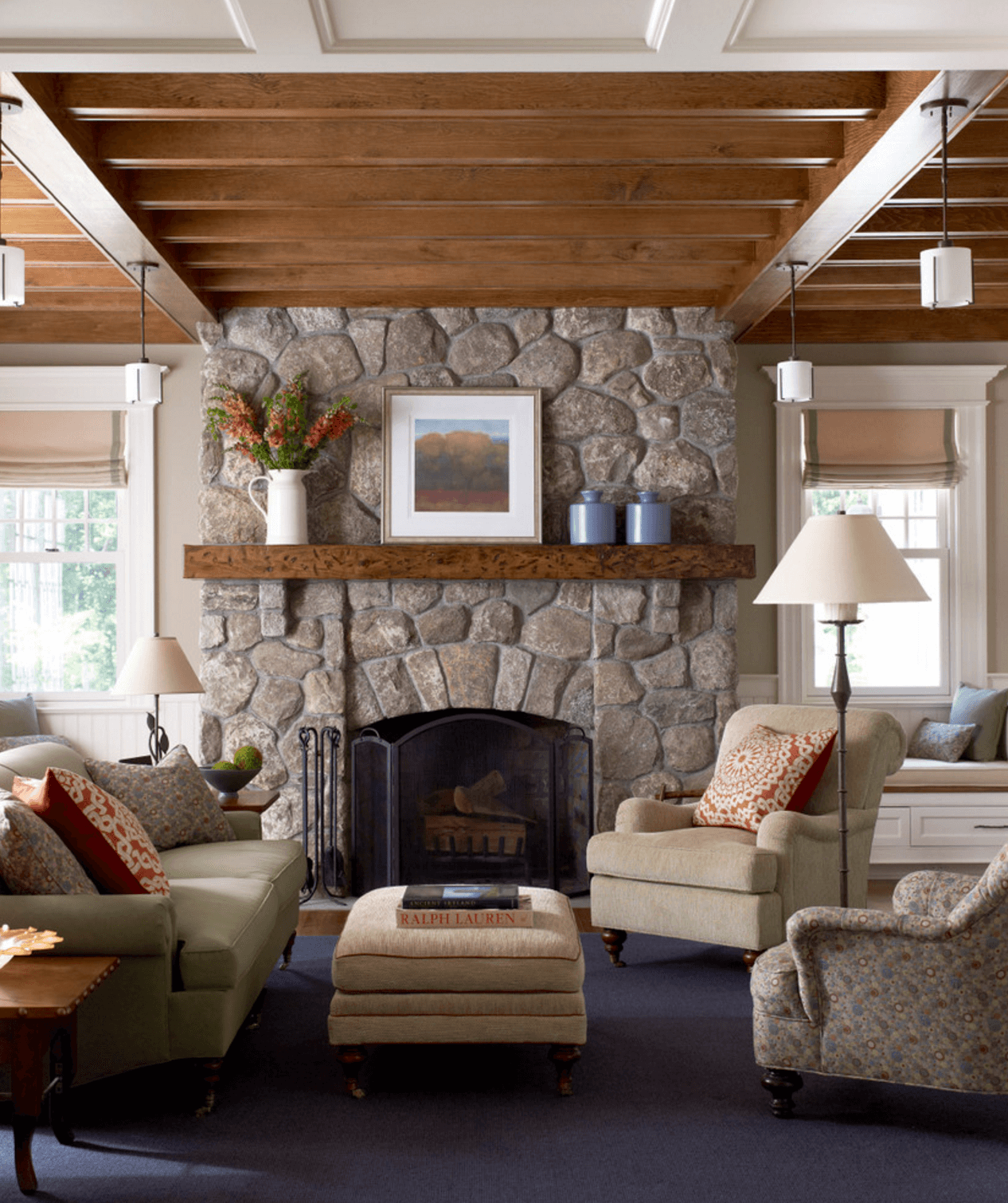 living room mantel interior design ideas blue and brown decorating freshome collect this idea country hearth