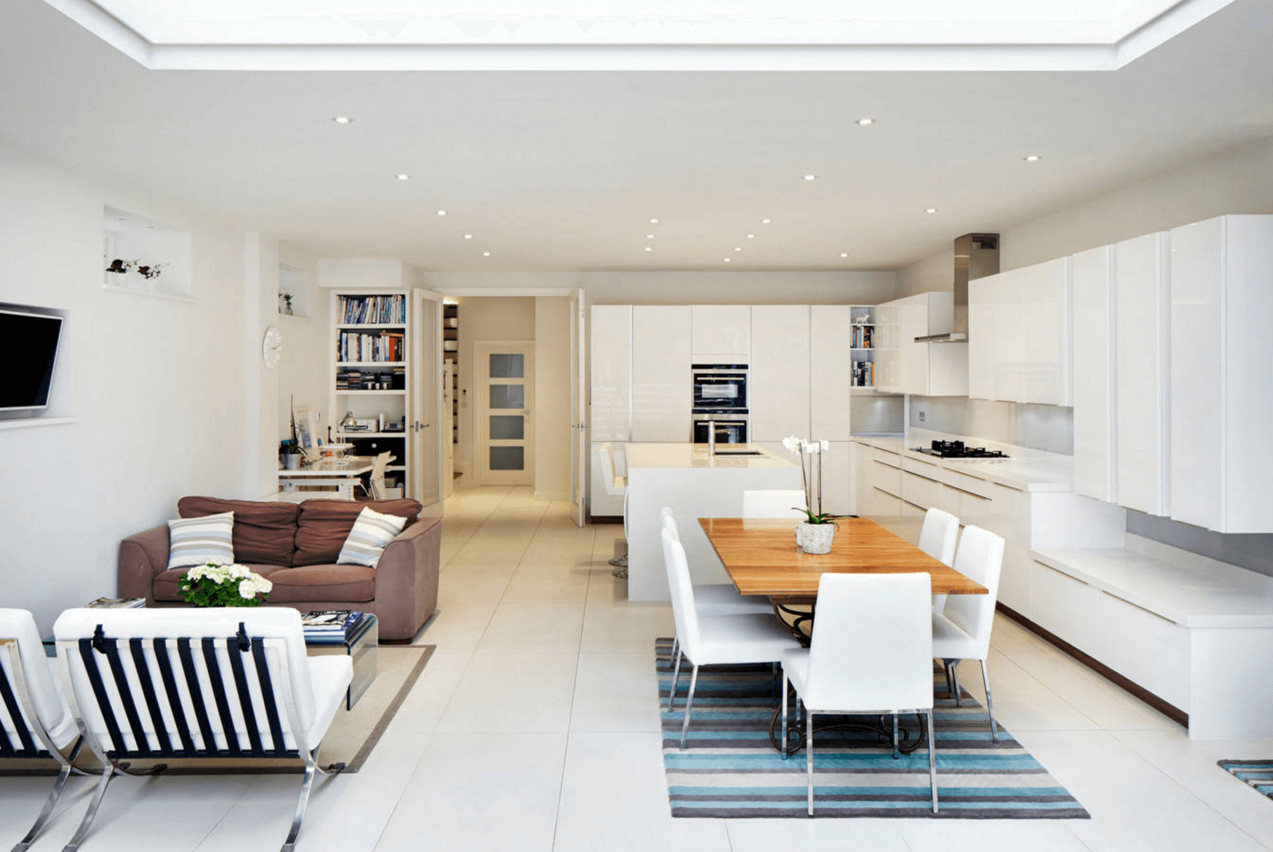 open plan kitchen living room flooring ideas best colour for indian floor plans a trend modern bright white