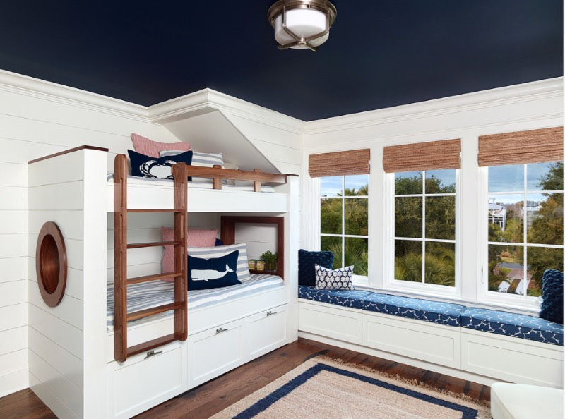small living room paint ideas interior designs tv unit 20 painted ceiling that change everything freshome com a deep navy caps off this s nautical theme warming up what would otherwise be stark white space image amy trowman design