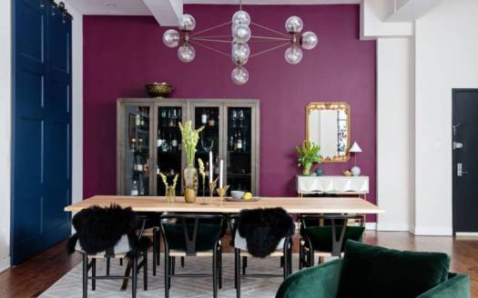 decorating with purple in the dining room