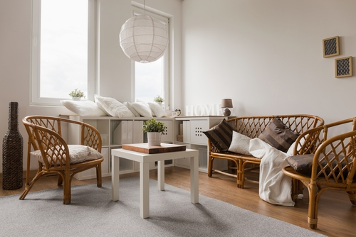 Living room with wicker furniture