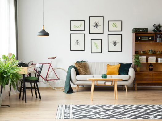 Modern living room with gallery wall