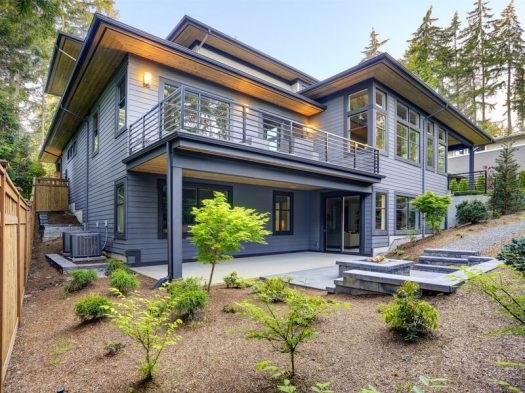 Mountain modern home with landscaping