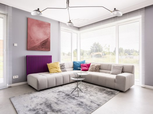 Colorful living room with large art