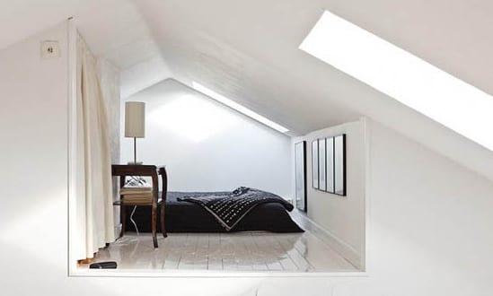Moderne DachEinrichtungsideen fr kleines Schlafzimmer