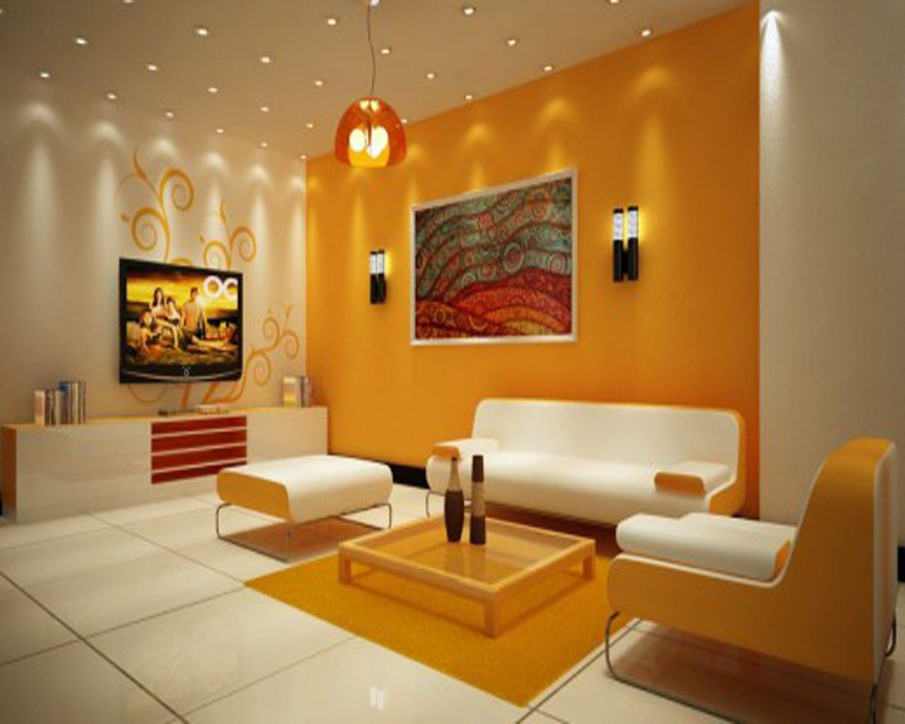 wohnzimmer in orange – abomaheber, Modernes haus
