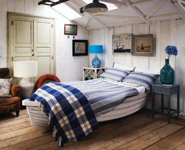 Maritimes Schlafzimmer  Schlafzimmer in wei und blau
