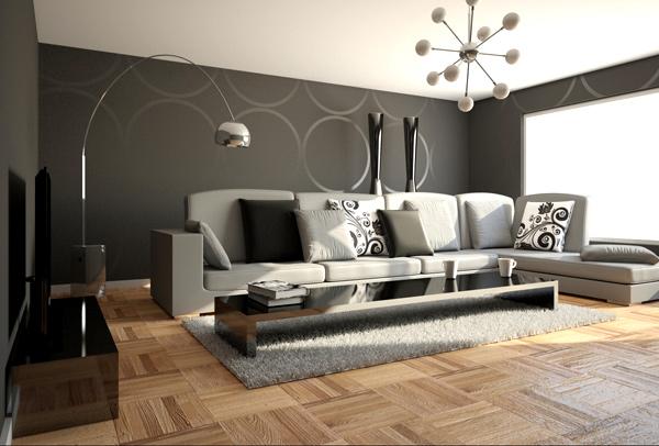 Farbgestaltung Grau Wandgestaltungsidee Ecksofa Grau Teppich Grau Schwarzer Tv Schrank