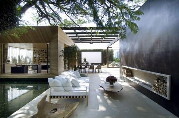berdachte Terrasse  moderne Terrasseneinrichtung  fresHouse