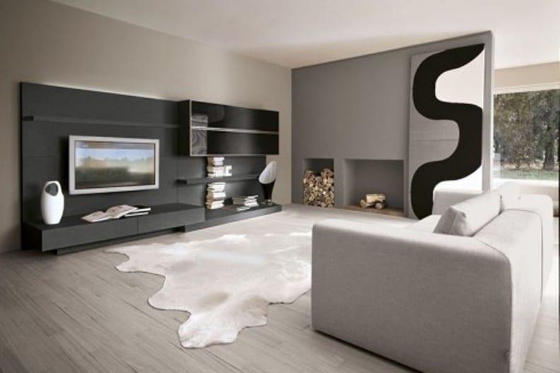 Farbgestaltung Wohnzimmer Laminat Grau Offener Kamin