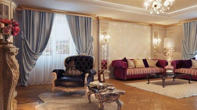 Barock Einrichtungsidee Mit Blauen Gardinen Und Sofa In Violett