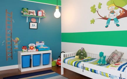 streifen wand streichen deko kinderzimmer wei blau ideen junge ... - Kinderzimmer Streichen Ideen