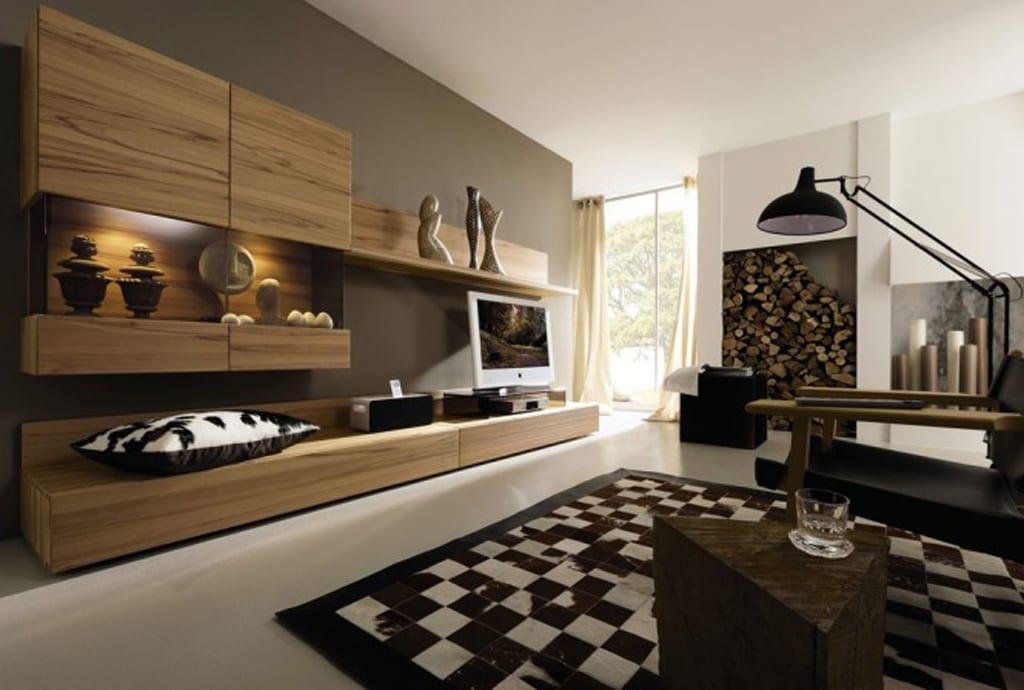 Wandgestaltung Im Wohnzimmer Schone Beleuchtung Weiches Teppich ... Wandfarben Wohnzimmer Braun