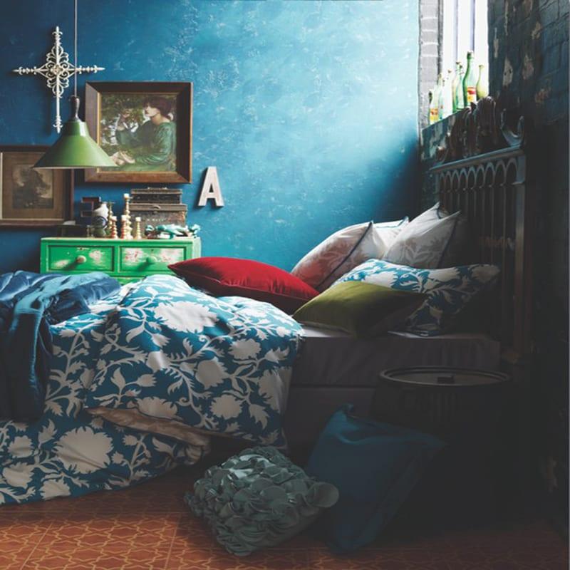 Schlafzimmer Wandfarbe  Ideen fr grelle Schlafzimmer