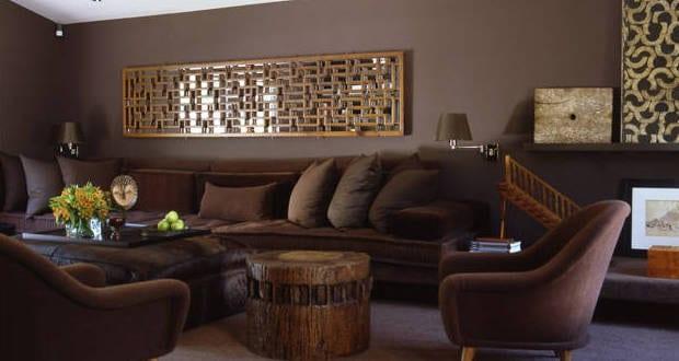 Wohnzimmer Braunwandgestaltung Ideen Freshouse