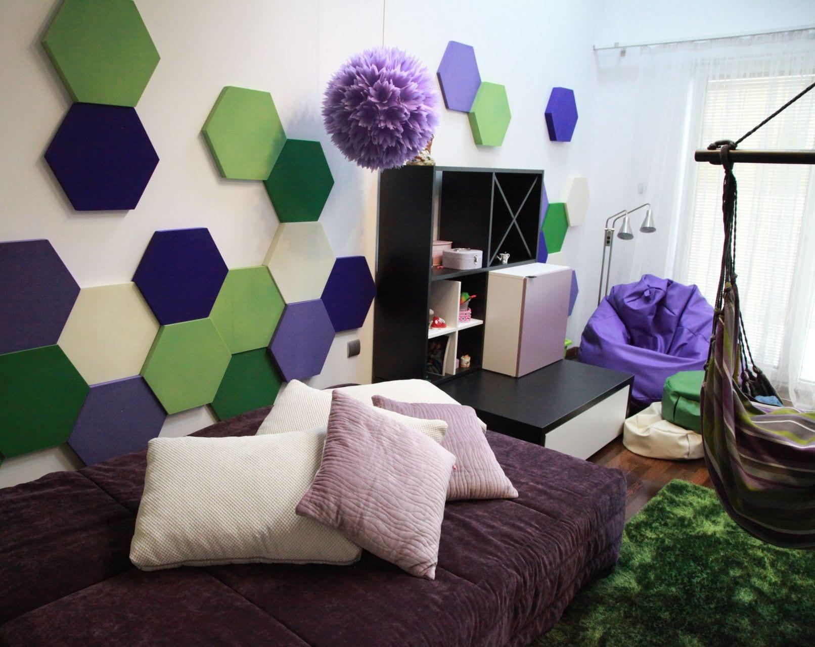 Wohnzimmer Lila Grun