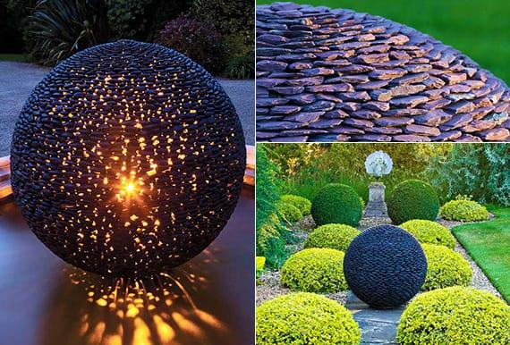 Fantastische Garten Ideen Mit Gro En Gartenkugeln Aus Schwarzen Steinen