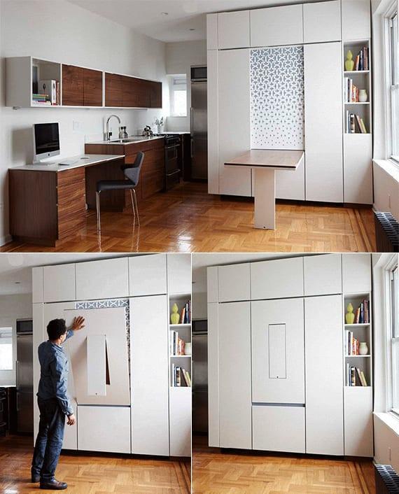 Enge und kleine Räume einrichten mit modernem Klapptisch - fresHouse