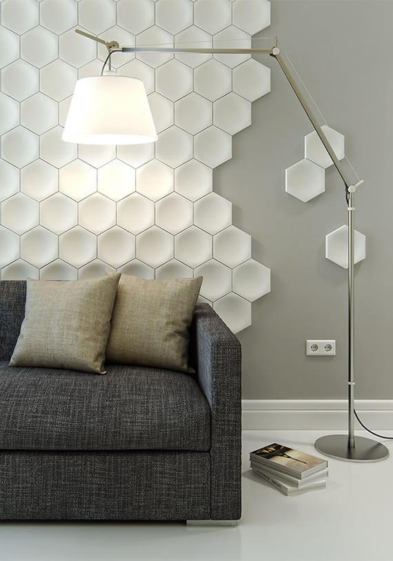 Sechseck Wandmuster Ideen fr eine tolle Wandgestaltung