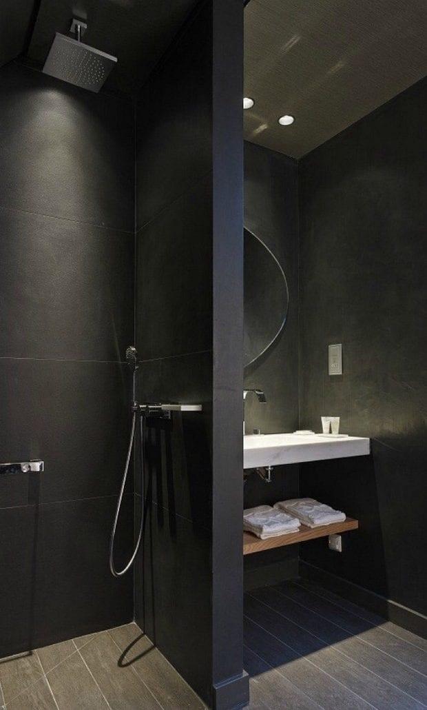 Stilvolle und mutige Badgestaltung in Schwarz  fresHouse