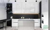 Glossy white kitchen cabinets with matte backsplash