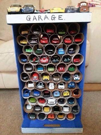 Paper Roll Toy Car Storage