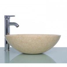 Beige Marble Stone Round Wash Basin Sink + Free Waste Rooms Inside Unique Round Wash Basin
