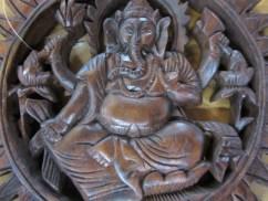 Beautiful Hand Carved Ganesha Wooden Wall Plaque In Beautiful Hand Carved
