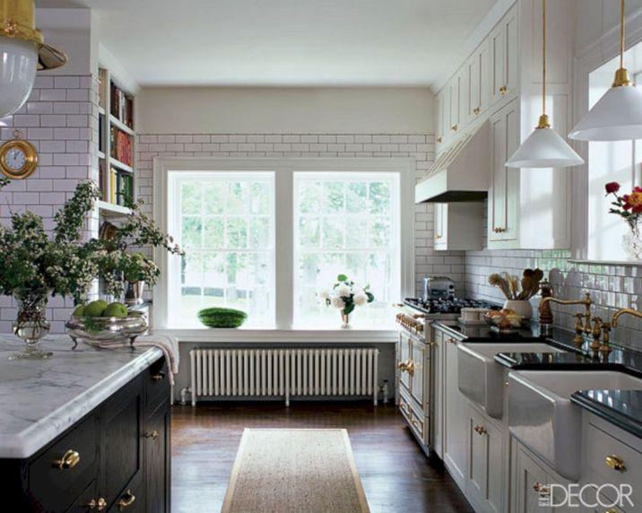 White Kitchen With Brass