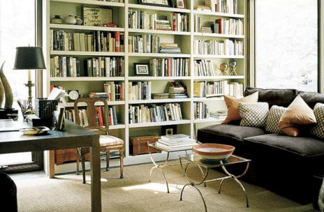 Living Room With Bookshelves