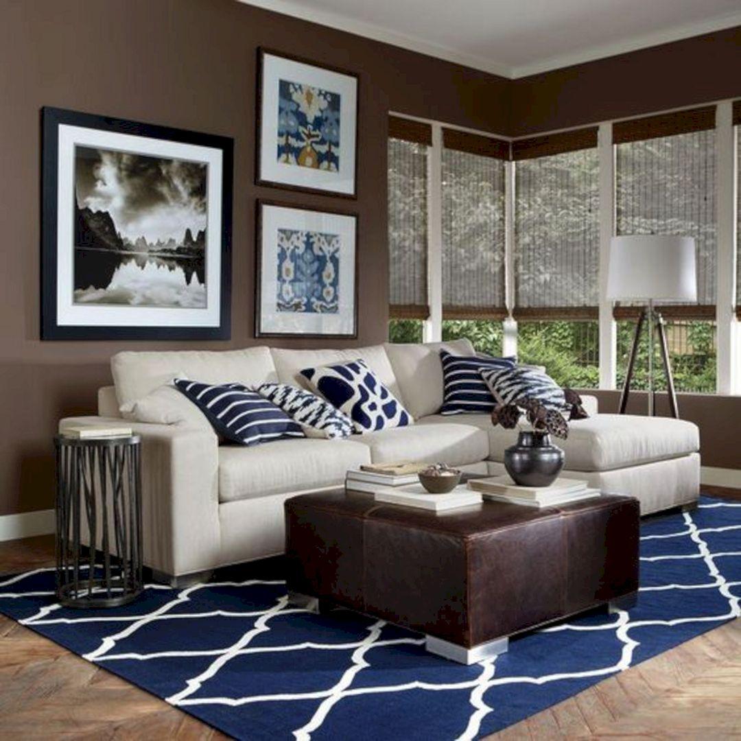40 Beautiful Living Room Designs 2017: 45+ Best Beautiful Navy & Brown Living Room Ideas