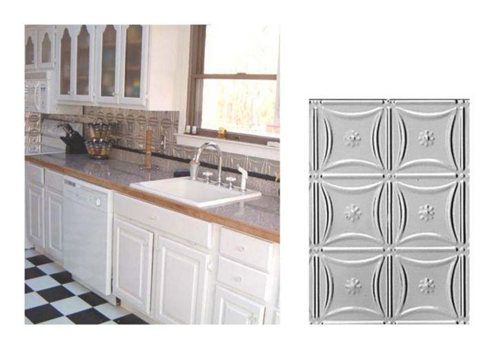 Metal Kitchen Backsplash Idea With Tile