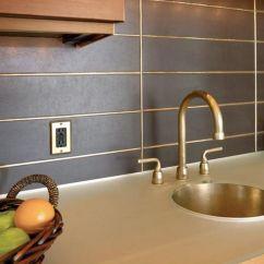 Metallic Kitchen Wall Tiles Granite Island Metal Backsplash Design