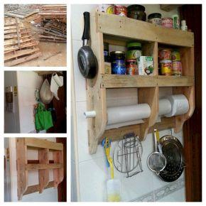 DIY Wood Pallet Kitchen Shelves